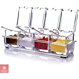 NYALKARAN JARI Crystal Kitchen Seasoning Box Set with Spoons (Clear, 8.3x5.8x7cm)