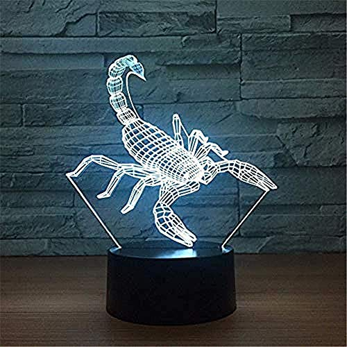 Nachtlicht 3D LED Skorpion Form USB Schreibtischlampe Buntes Tier Nachtlicht Kinderzimmer Schlafzimmer Nachttisch Dekoration Schlaf Beleuchtung Kinder Geschenk