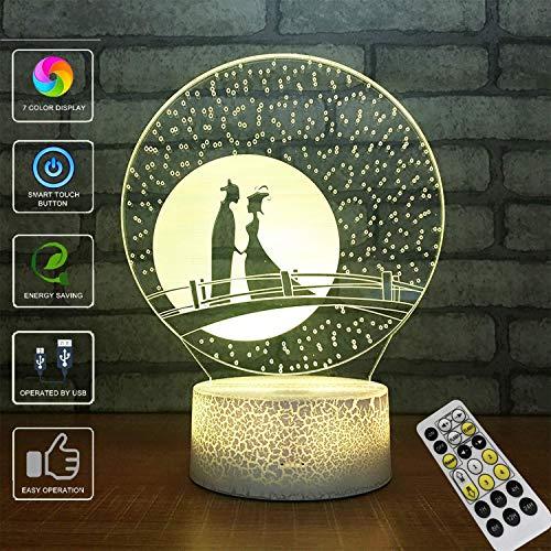 (3D Illusion Lampe, LED Optische Täuschung Multi-Color-Nachtlicht, Fernbedienung USB Lade Kleine Tischlampe, Halloween Weihnachten (Liebe))