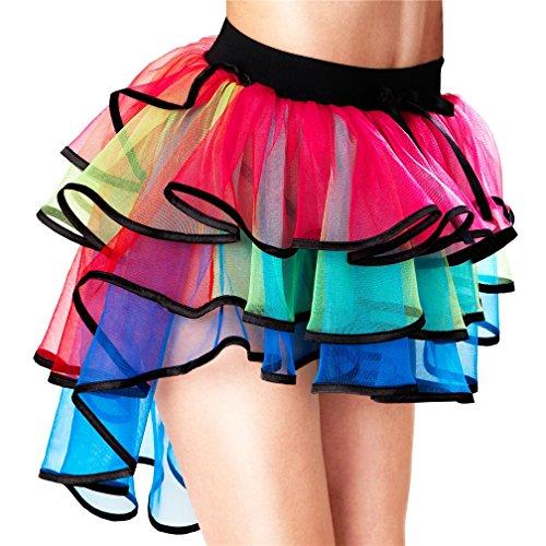 LazLake Damen Regenbogen Tüllrock Geschichtet Ballett Tanzkleid Tutu Rock Party Cosplay Holloween L41-TS009 Rainbow