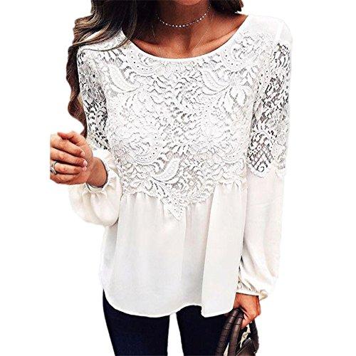 Bekleidung Tops Loveso Damen Mode Retro Langarm Spitze Stickerei Weiß Polyesterfaser Tops T-Shirt Bluse ((Größe):34 (S), Weiß)