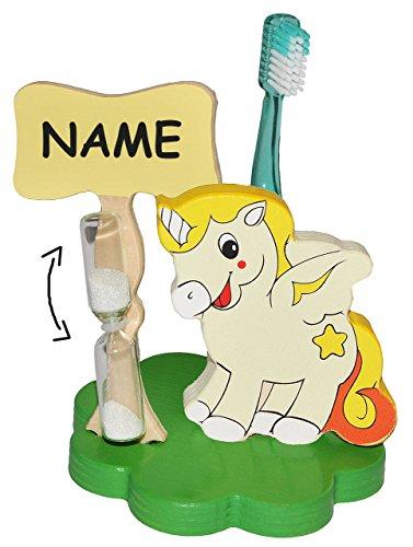 Zahnbürstenhalter / Zahnputzuhr - Einhorn Pferd incl. Name - mit Sanduhr + Zahnbürste - aus Holz - Badezimmer Bad Kinderzahnbürste / Mädchen Jungen - Tiere - Bauernhof Einhörner - für Kinder / zum Zähneputzen für 1 Minute