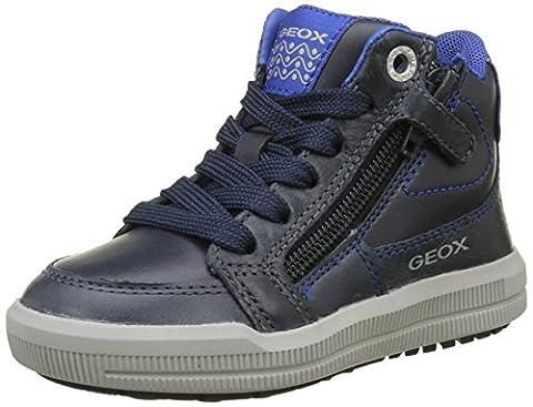Geox J Arzach F, Baskets Hautes Garçon, Bleu (Navy/Royal), 34 EU