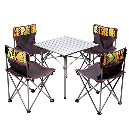 JKL- Notebookständer Outdoor Klapptisch und Stuhl Set Tragbares Picknickfeld Selbstfahrendes Auto Tisch National Wind Schreibtisch und Stuhl Set Von 5 Camping Angeln BBQ Garden Party -