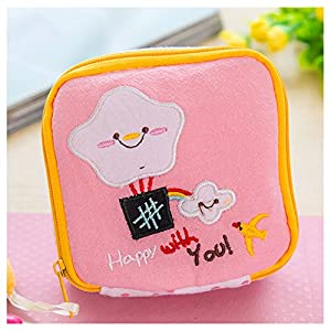 ACAMPTAR Girl's Cute Cartoon Sanitary Napkin Towel Pads Small Bag Purse Holder Organizer?Pink?