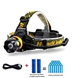 TOOGE Waterproof LED Zoomable Headlamp and Flashlight with 3 Modes, Adjust Front Headlamp for Hunting, Fishing, Riding, Hiking, Camping and Walking the Dog, Includ 2*2200mAh 18650 Rechargeabel Battery, Support 30 Hours Continue Flash