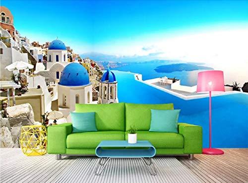 Fototapete 3D Effekt Tapete Hintergrund Der Wall Of Swimming Pool In Santorini Island, Aegean Sea, Mittelmeer Vliestapete 3D Wallpaper Moderne Wanddeko Wandbilder