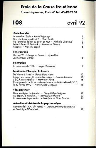 Lettre mensuelle N 108 , Avril 1992 : EOL, Les psycho - Sommaire dans l'image - Textes de Pierre-Gilles Guguen, Bernard Seynhaeve, Marc Strauss ...