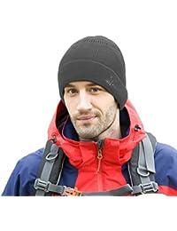 Amurleopard Homme bonnet tricot souple fashion chapeau hiver automne knit Gris Fonce Taille unique