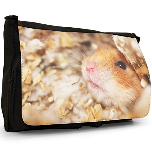 Criceto – Borsa Tracolla Tela Nera Grande Scuola/Borsa Per Laptop Close Up Of A Hamster
