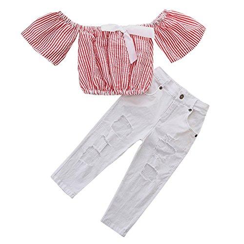 SCFEL 2 stücke Outfits Kleinkind Baby Mädchen Streifen Schulterfrei Top + Loch Jeans Hose Sommer Kleidung Set für 0-5 Jahre (Rosa , 5-6 Jahre) (Kleinkinder Mädchen Jeans)