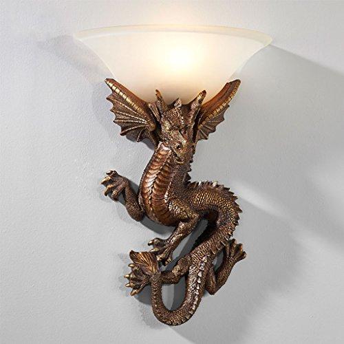 Apliques Inicio Fashion Wall Light, Dragón Chino Talla de la Lámpara de Pared Dormitorio de la Pared de la Cama Escaleras retras Pasillo Estudio Hotel Lobby Decoración Luz de la Noche - HMLIFE