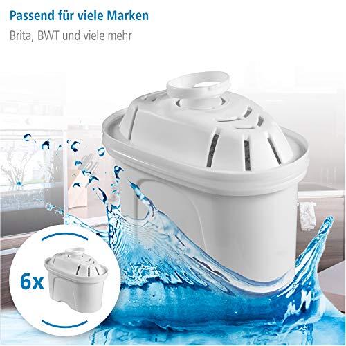 Xavax Wasserfilterkartuschen, 6er-Pack, für Filterkannen von Brita und BWT, Tischwasserfilter, Ersatz-Kartusche/Filterpatrone