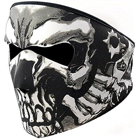Motocicleta de esquí y snowboard negro neopreno Reversible 2en 1cráneo asesino máscara de cara completa