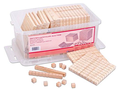 Betzold 2998 - Dienes-Material Holz-Würfel Mathe Zehnersystem-Satz Stapelbox - Dezimalsystem-Satz Mathematik Grundschule -