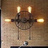 JU Wandleuchte Loft Retro Industrial Light Gang Dekoriert Balkon Lampe American Restaurant Bar Eisen Wandleuchte,4 Kopf
