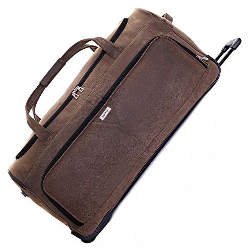 Karabar Große 30 Zoll Reisetasche Rollenreisetasche XL Trolley Gepäcktasche mit Rollen - 120 Liter 78 cm 3,5 kg Faltbare auf 2 Rädern & Trolleyfunktion Teleskopgriff, Portola Braun