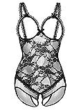 DotVol Damen Dessous Erotik Sexy Dessous Babydoll Spitze Chemises Mesh Transparentes Öffnen Bustier Lingerie (EU L/Tag XL, Schwarz)