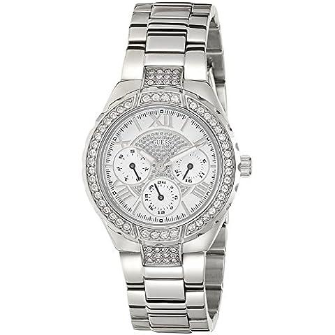 Guess Ladies Sport W0111L1 - Reloj analógico de cuarzo para mujer, correa de acero inoxidable color plateado