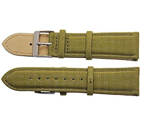 ACE Unisex-Armband Uhrenarmband Canvas Leinen Dornschließe aus Edelstahl 20mm
