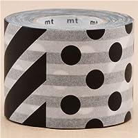 nastro adesivo decorativo largo mt Washi strisce pois bianchi neri
