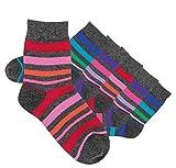 Laake 6 Paar Mädchen Socken handgekettelt Spitze ohne Naht aus besonders weicher Baumwolle Ringelsocken (31-34)