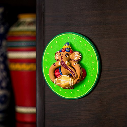 ExclusiveLane Terracotta Handpainted Ganesha Wall Hanging In Green - Home Daccor Ganesha Statue Diwali Gifts God Statue  available at amazon for Rs.649