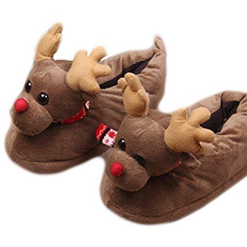 Auspicious beginning Weihnachten Elk Printed Warm Booties, warme gemütliche Plüsch Baumwolle Wohnung Slippers Beleg auf ()