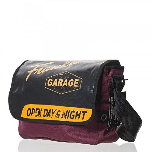 Frankies Garage-Trend Line II-Unisex-Tasche sulle spalle, multicolore (burgundy/black/mais), 33x23x11 cm