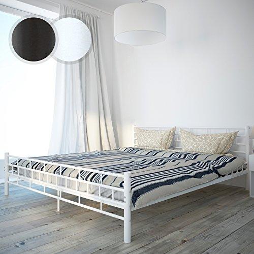 MIADOMODO-mtbt03/1Metall-Bett-140x 200cm-Verschiedene Maßnahmen zur Auswahl - Home Eleganz Lattenrost