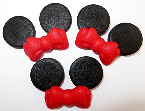 Minnie Maus Set mit Rot Bögen Essbare Zucker Kuchen Topper Dekorationen (Rot Minnie Ohren)