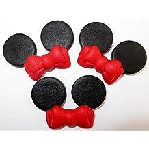 Conjunto de Minnie Mouse con lazos rojos de azúcar comestibles, decoración para tartas