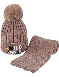 Liqiqi Bambino Cappello Inverno Neonato Bambine Caldo Berretto Sciarpa Set     Pompon Carino Caldo Knitting 0ecec170a6fc