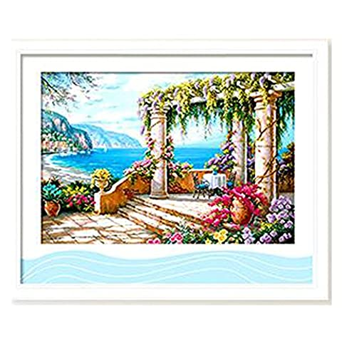 DOMEI 3D Stamped Cross Stitch Kit,Seaside View, 26.4 x 18.9inches