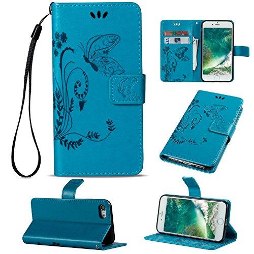 Cozy Hut Custodia portafoglio / wallet / libro in pelle per iPhone 7 (4.7 zoll) Custodia in Pelle Stampata Morbida PU Case Cover - Cover elegante e di alta qualità,Funzione di sostegno Stand,con la co blu