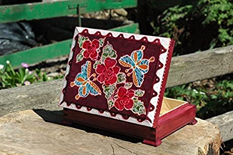 Hand Painted Jewelry Wooden Box/ Butterflies and Roses Wooden Box/ Red Rose/ Art Decorative Box/ Painted Red Jewellery/Butterfly keepsake Box/Flowers and Butterflies Wooden