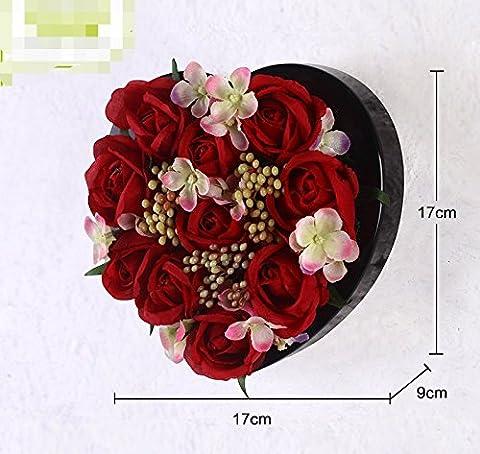 Hctina Montage mural faux de fleur artificielle rouge murs Heart-Shaped 17*17 en pot usine Rosecm