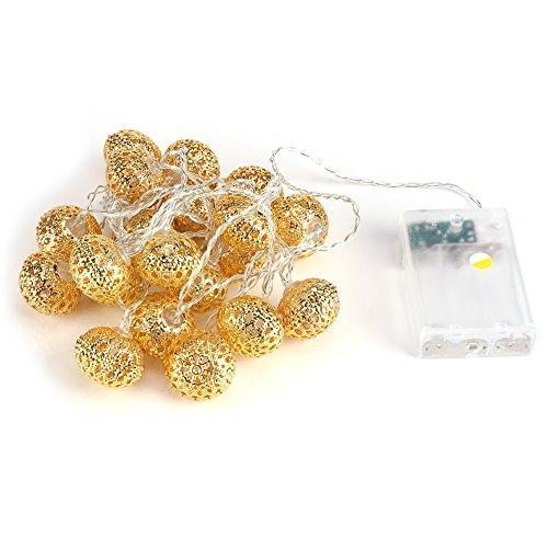 - Delaman 20er LED Lichterkette Innen/Außen Batterienbetriebene Party Lichterkette für Garten, Weihnachten, Halloween, Hochzeit, Deko/Länge 2,2m (Color : Gold) ()