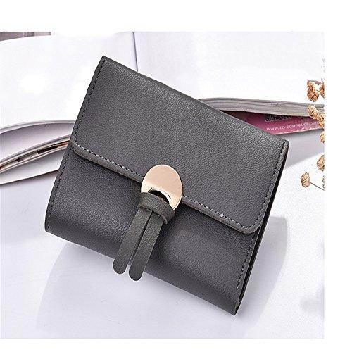 La piegatura pura pelle corto il settanta percento di sconto slim in pelle borsa a mano cambia una borsa della donna,Wathet Grigio scuro
