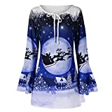 saymany Blouse Damen Fashion Women Merry Christmas Plus Size Flare Sleeve Print T-Shirt Tops Blouse