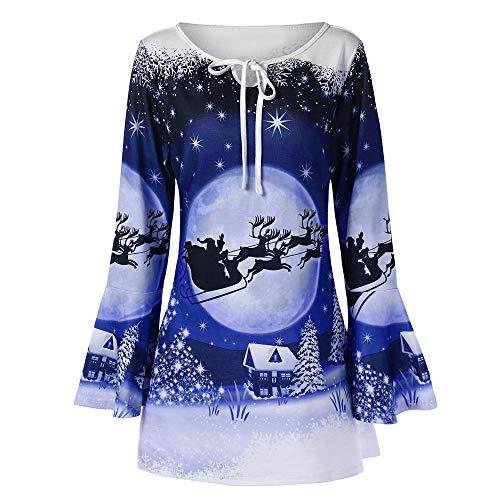 IZHH Damen Weihnachten Plus Size Shirt, Mode Damen Flare Langarm Weihnachtsmann Print T-Shirt Tops Bluse Weihnachten Trompete Ärmel mit bedruckten Oberteilen(Blau,X-Large)
