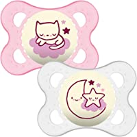 MAM Night Soothers 0-6 Months (Pack of 2), Glow in the Dark Baby Soothers with Self Sterilising Travel Case, Newborn Essentials, Pink/White, (Designs May Vary)