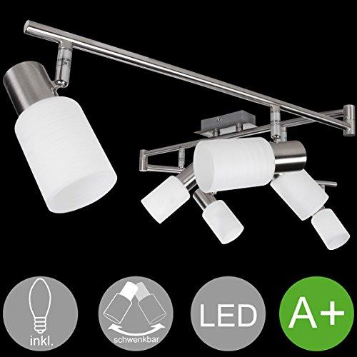 FineBuy 6-flammiger LED-Strahler Warmweiß EEK A+ inkl. 6x4 Watt Leuchtmittel | Deckenlampe IP20 Fassung E14 LED Diele Flur | Deckenleuchte Spots Wohnzimmer Schlafzimmer Esszimmer