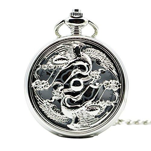 Icegrey Taschenuhr Mit Gravur Kran Und Strass Glücksbringer Mechanisch Taschenuhr Anhänger mit Halskette Kette Pocket Watch Silber