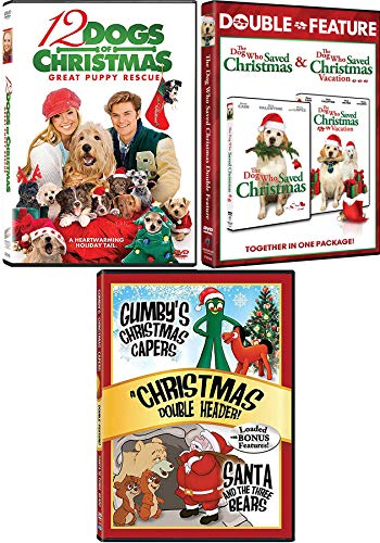 Saved By The Dogs Holiday Collection Dog who Saved Christmas + Vacation Double Feature & 12 Dogs Puppy Rescue / Gumby Capers Animated DVD 4 Movie Family Set (Gumby Dvd)