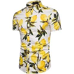OCHENTA Camisa Tropical Hawaiana Casual de Manga Corta para Hombre de Piña #05 Blanco EU M (Etiqueta del Fabricante XL)