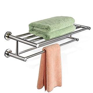 COSTWAY Handtuchablage Handtuchstange Handtuchhalter Badetuchstange Handtuchständer Badregal Wandregal 2 Ablagen Edelstahl