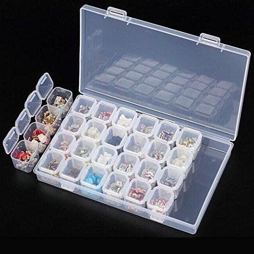 starnearby klar Kunststoff Jewelry Storage Container Organizer Fall Tools Box für Nail Art Ohrring Halskette Perlen mit verstellbare Trennwände 28Raster (Organizer-tool-box)