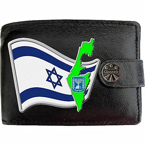 Israel Flagge KLASSEK Herren Geldbörse Portemonnaie Brieftasche Israelisch Wappen aus echtem Leder schwarz Yisra