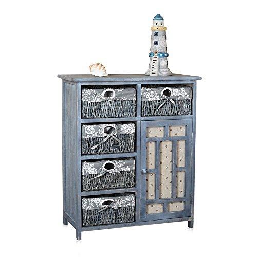 Landhaus Kommode Küchenschrank Flur Regal Sideboard Shabby Blau Grau Badschrank